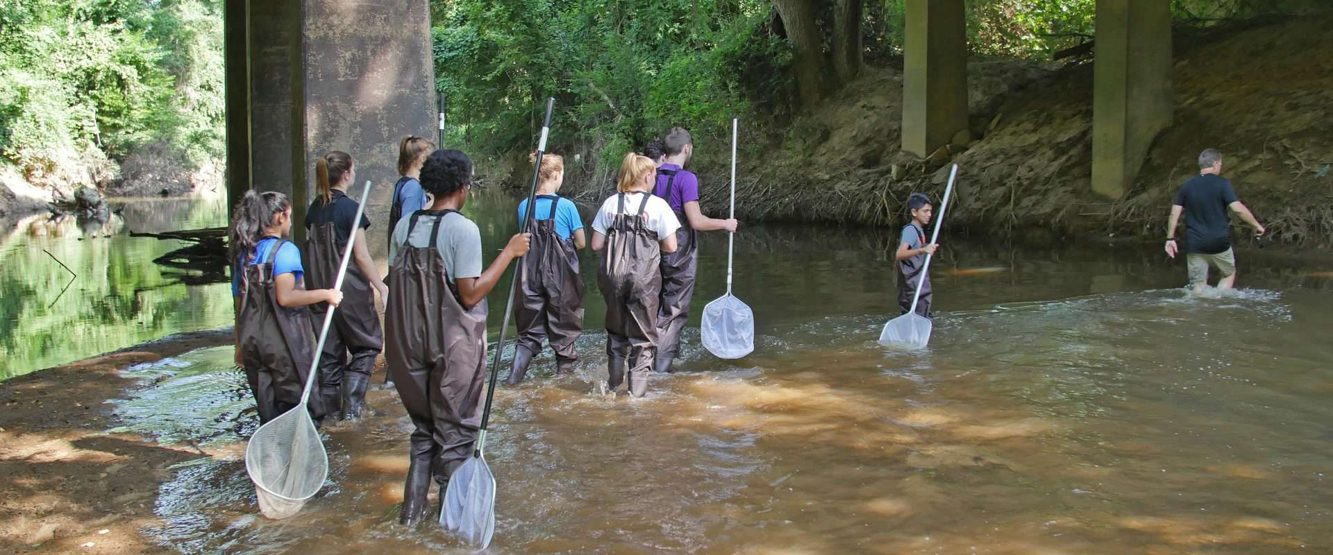 WPU students conduct experiments in Crabtree Creek.