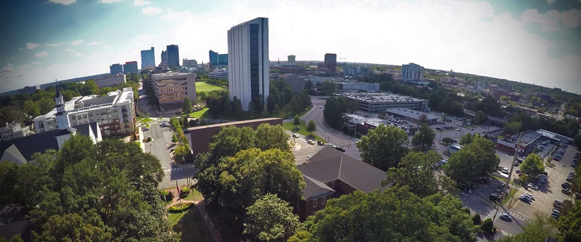 Aerial Shot of Downtown Raleigh from WPU