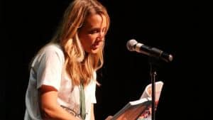 Fanny reading to crowd 300x169 - #PrepareAtPeace: Alumna Fanny Slater Becomes Food Network Co-Host