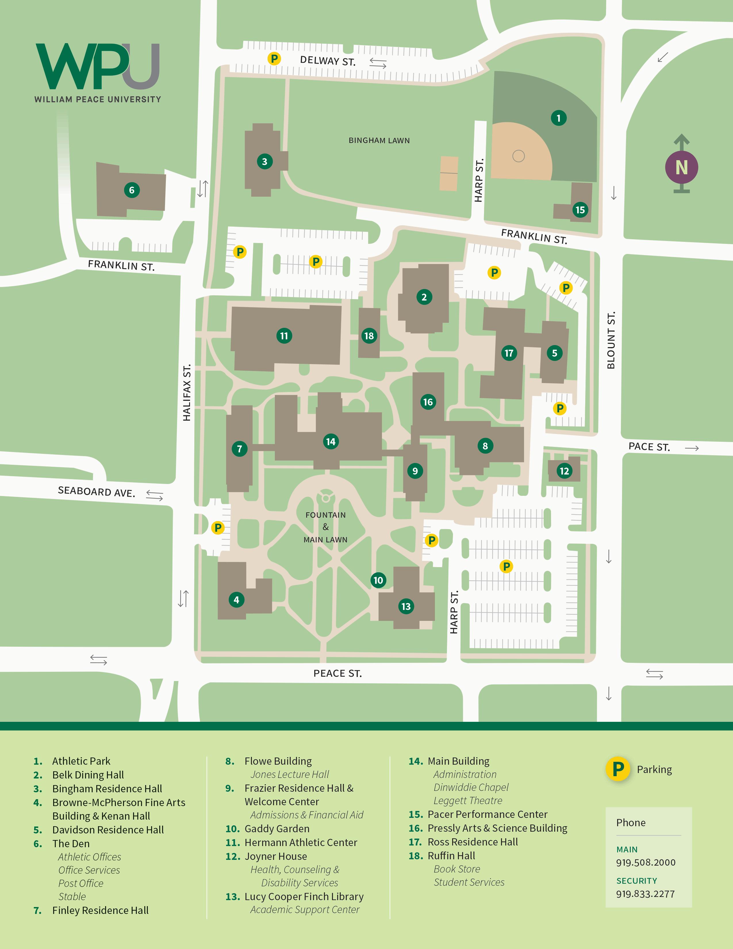 william peace university campus map Campus Map William Peace University william peace university campus map