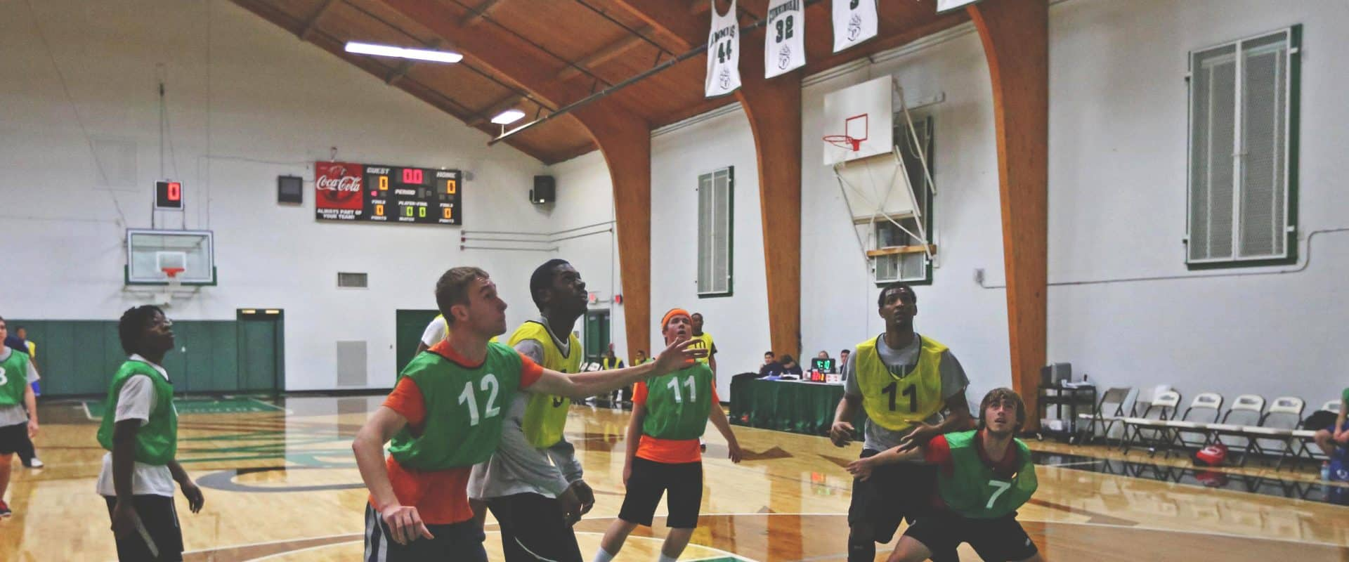 WPU students play an intramural basketball game.