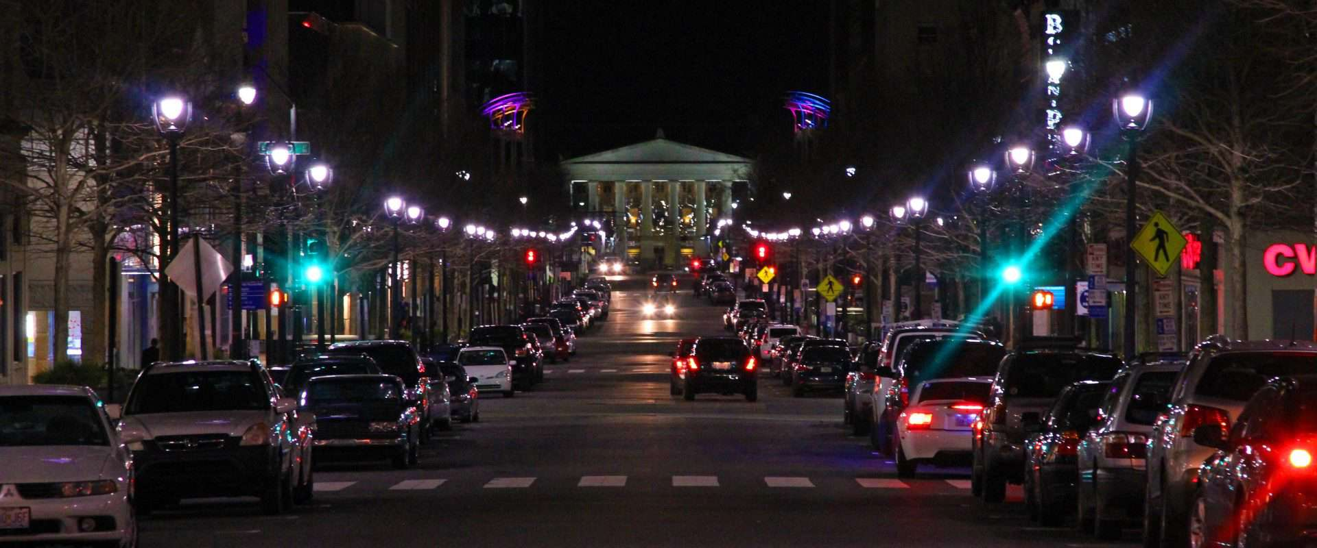 Fayetteville Street at night.