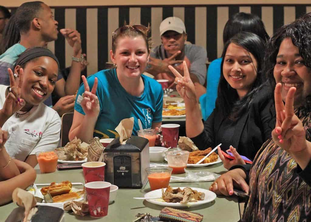 Students Enjoying Belk Dining Hall 1024x731 - Residential Conferences