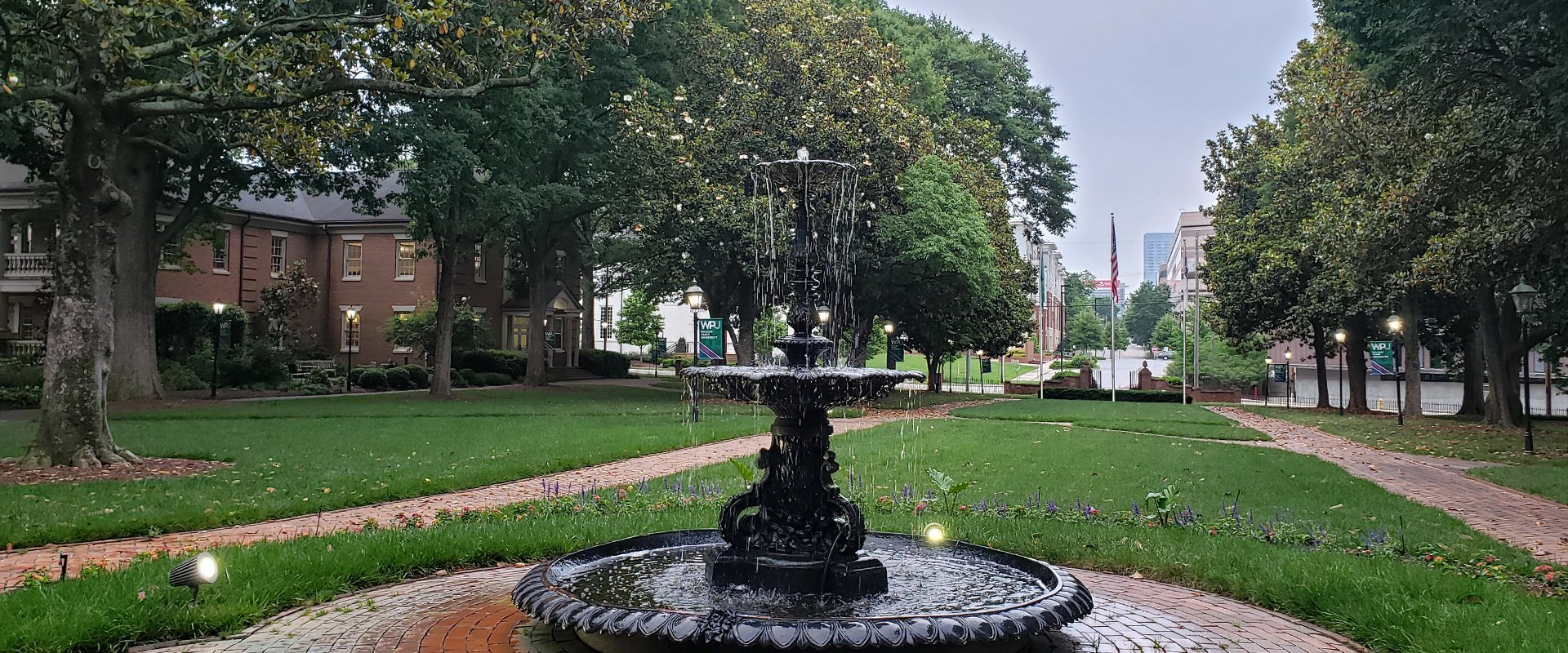 The fountain at WPU - William Peace University Announces Dean's List for Spring & Summer 2019