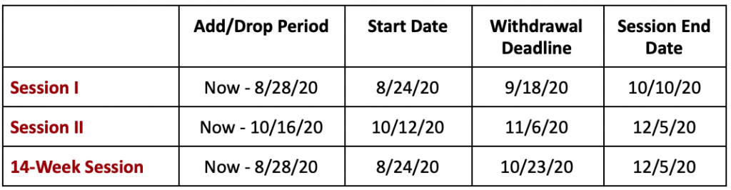 WPU Fall 2020 Semester Schedule for SPS 1024x266 - School of Professional Studies for Adults