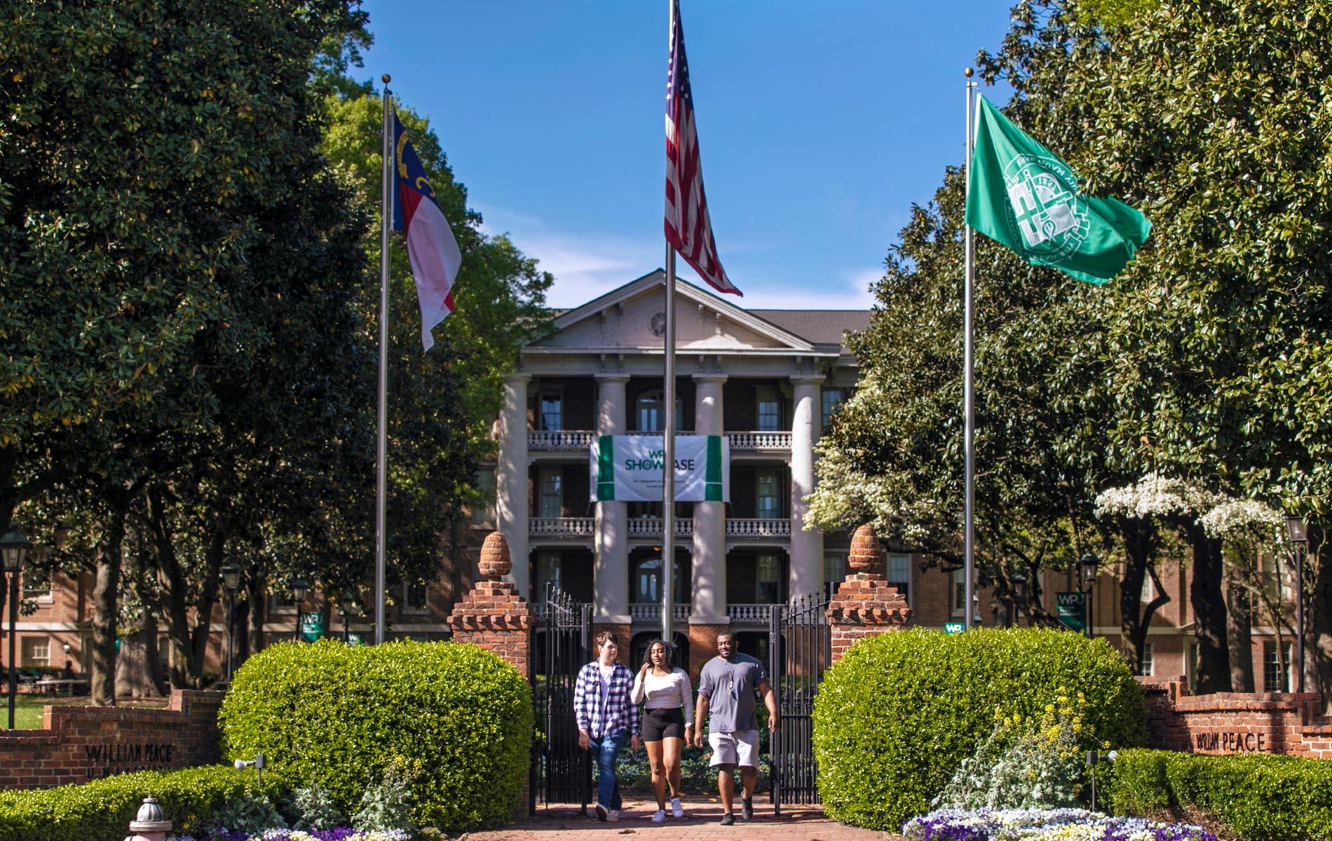 Students walk through the main gates at WPU.