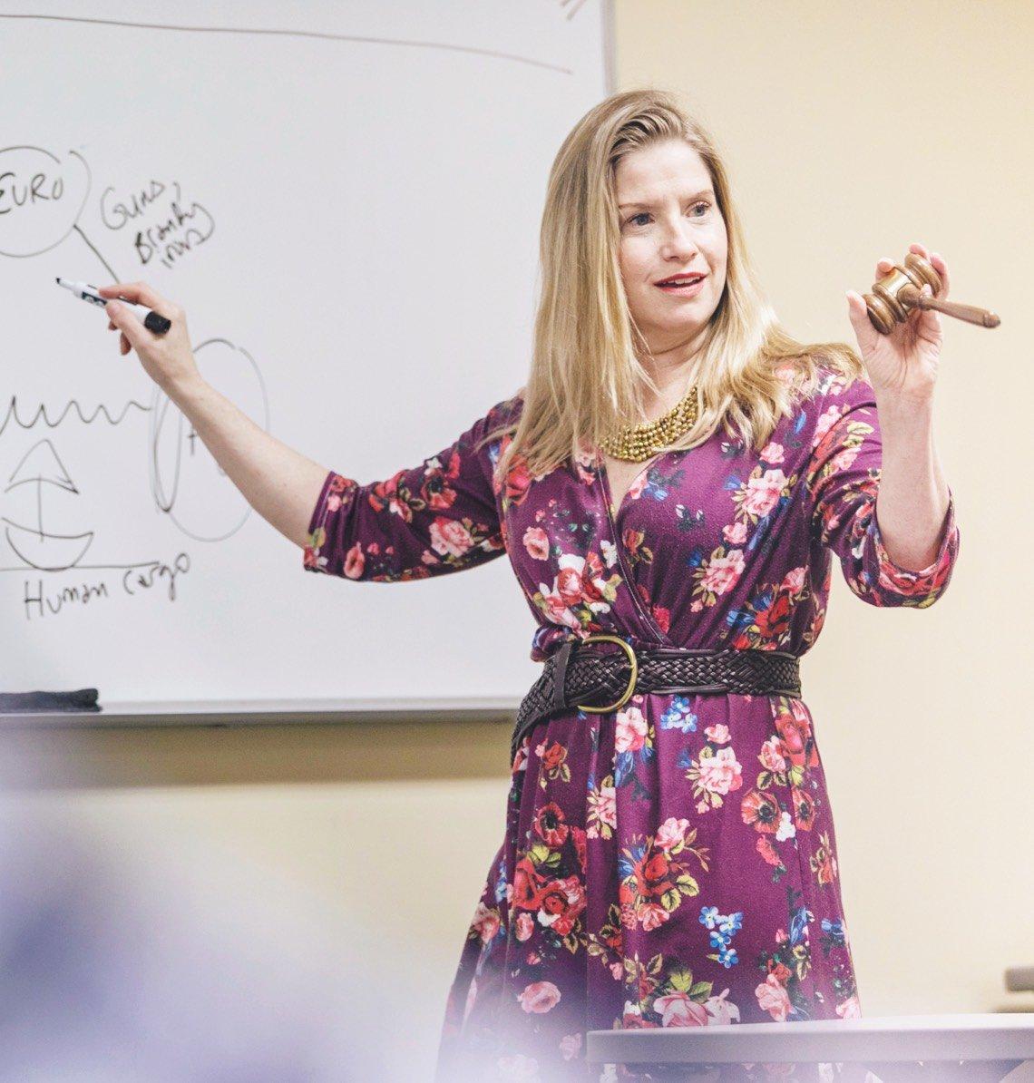 Professor in class
